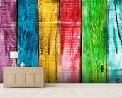 Painted Wooden Planks wallpaper mural living room preview