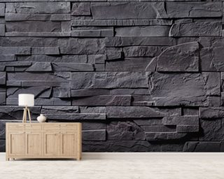 Stone Wall - Charcoal Grey Wallpaper Mural Wall Murals Wallpaper