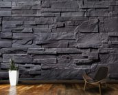 Stone Wall - Charcoal Grey mural wallpaper kitchen preview