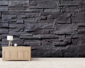 Stone Wall - Charcoal Grey mural wallpaper living room preview