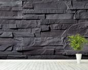 Stone Wall - Charcoal Grey mural wallpaper in-room view