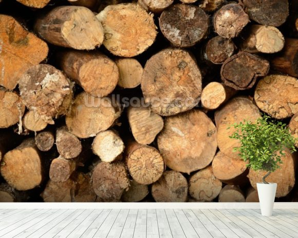 Log Pile Stack wall mural room setting