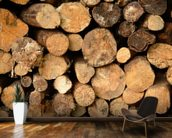 Log Pile Stack wall mural kitchen preview