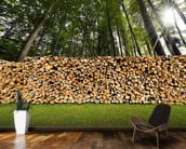 Pile of Chopped Firewood in the Woods wallpaper mural kitchen preview