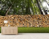 Pile of Chopped Firewood in the Woods wallpaper mural living room preview