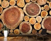 Pile of Logs mural wallpaper kitchen preview
