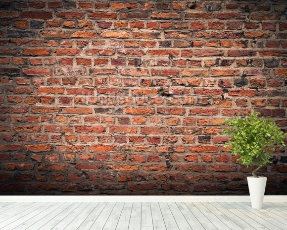Brick wall wallpaper wall mural wallsauce for Brick wall mural