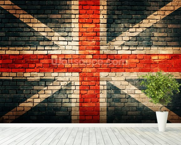 Union jack on old brick wallpaper wall mural wallsauce for Brick mural wallpaper