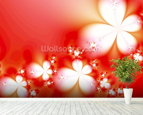 Abstract Flowers on Red wallpaper mural room setting
