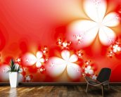 Abstract Flowers on Red wallpaper mural kitchen preview