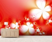 Abstract Flowers on Red wallpaper mural living room preview