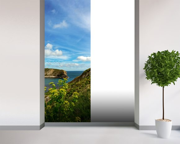Lulworth Cove in Dorset England mural wallpaper room setting
