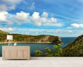 Lulworth Cove in Dorset England mural wallpaper living room preview