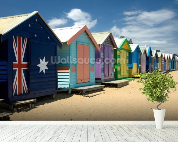 Colourful Beach Huts wall mural room setting