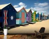 Colourful Beach Huts wall mural kitchen preview