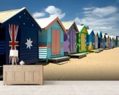 Colourful Beach Huts wall mural living room preview