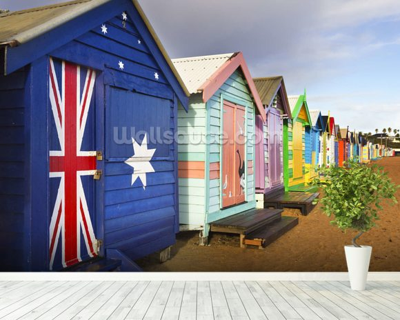 Brighton Bathing Boxes mural wallpaper room setting