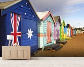Brighton Bathing Boxes mural wallpaper living room preview
