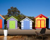 Brighton Beach Bathing Boxes wall mural kitchen preview
