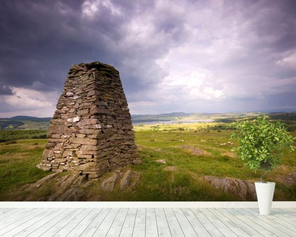 Cairn and Clouds mural wallpaper room setting