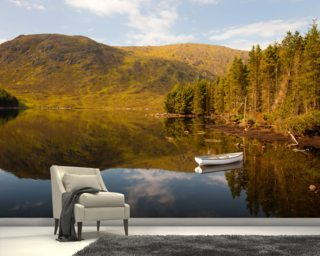 Lonely Boat Lonely Loch wallpaper mural