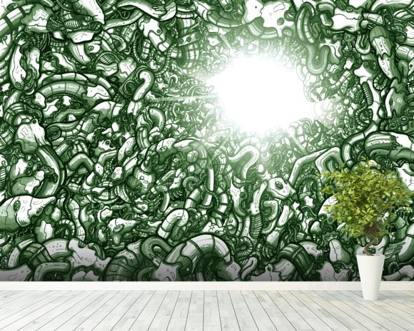 Chasm Green (2013) wallpaper mural room setting
