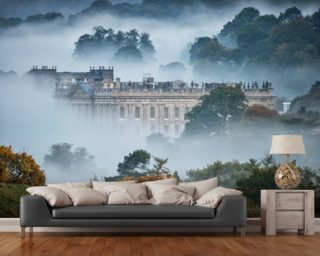 Chatsworth In The Mist wallpaper mural
