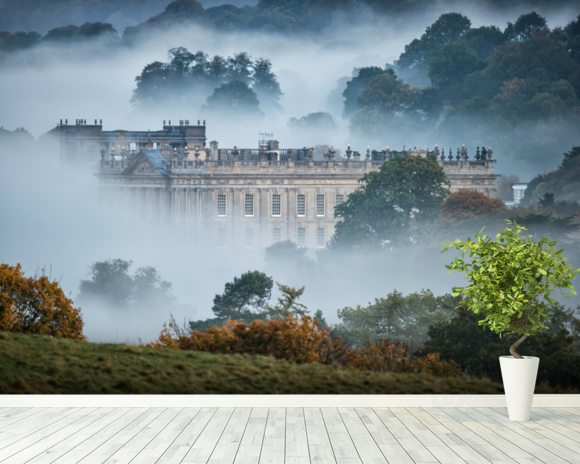 Chatsworth In The Mist wallpaper mural room setting