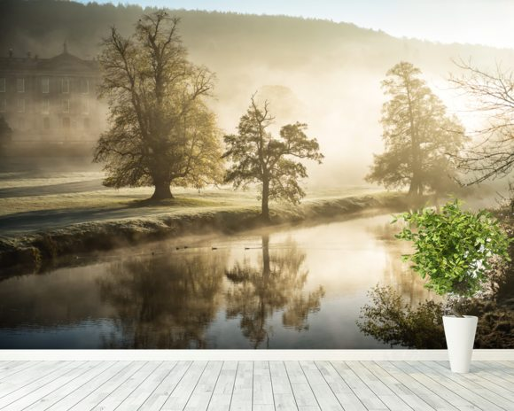 Chatsworth Misty River wall mural room setting