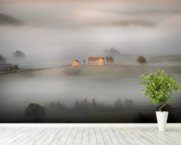 House In The Mist wall mural room setting