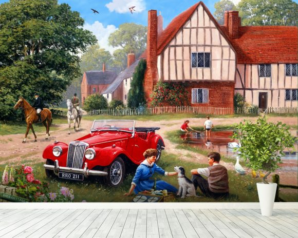 The village pond wall mural the village pond wallpaper for Mural village