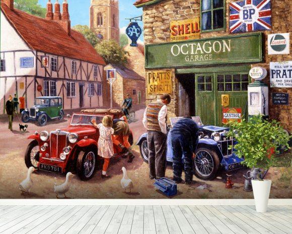 The Village Garage Wall Mural Wallpaper by Kevin Walsh Wallsauce USA