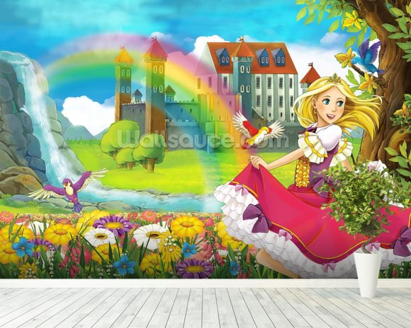 Beautiful princess wallpaper wall mural wallsauce new for Beautiful wall mural