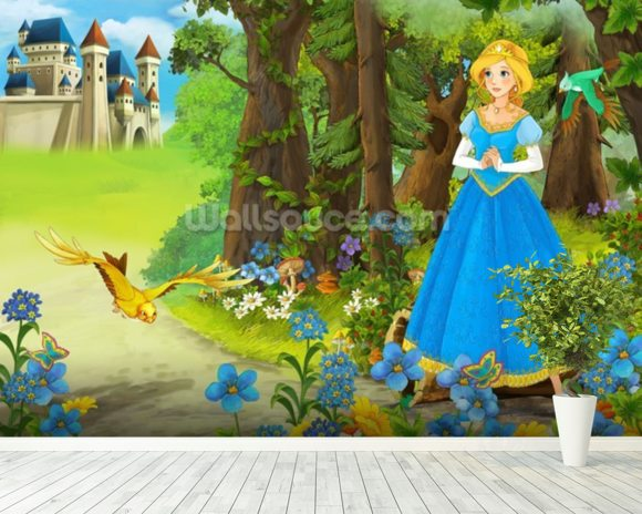 The Princess mural wallpaper room setting