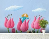 Thumbelina wall mural in-room view