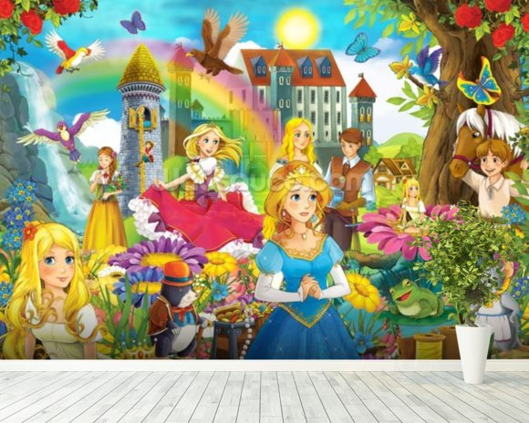 The fairy tales wallpaper wall mural wallsauce usa for Fairy tale mural