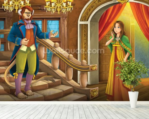Beauty and the Beast wall mural room setting