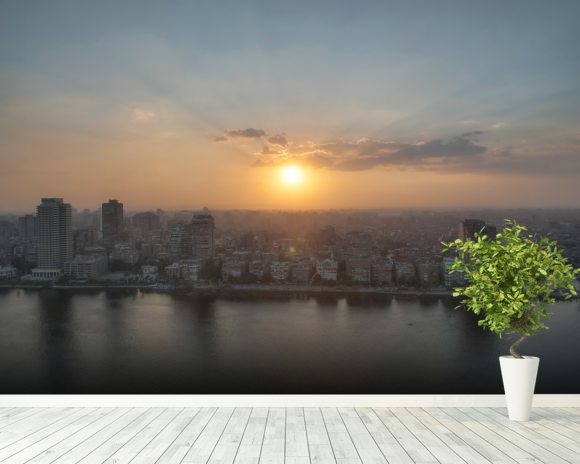 Cairo Sunset wall mural room setting