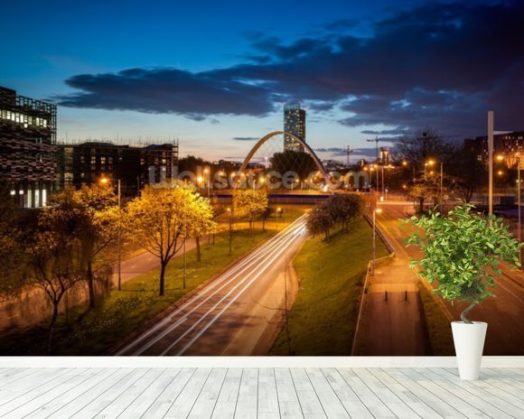 Manchester skyline mural wallpaper room setting