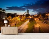 Manchester skyline mural wallpaper living room preview