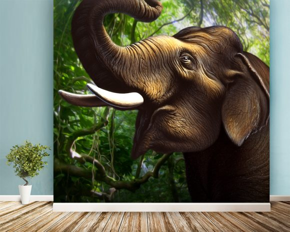 Indian Elephant Jungle wall mural room setting