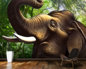 Indian Elephant Jungle wall mural kitchen preview
