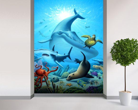 Ocean Life Wall Mural Amp Ocean Life Wallpaper Wallsauce