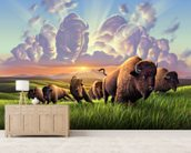 Stampede wallpaper mural living room preview