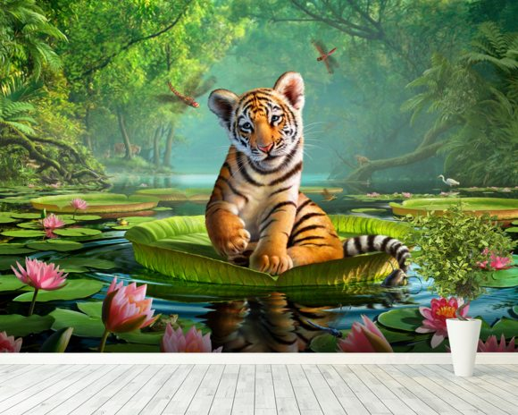 tiger lily wall mural amp tiger lily wallpaper wallsauce white tiger wall mural photo wallpaper 280x200cm
