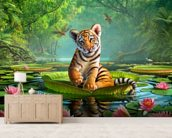 Tiger Lily wall mural living room preview