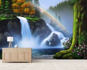 Waterfall mural wallpaper living room preview