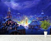 Christmas Town wall mural in-room view