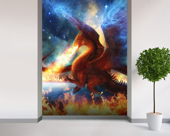 Lord of the Celestial Dragons wall mural room setting