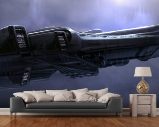Spacehip in Clouds wall mural